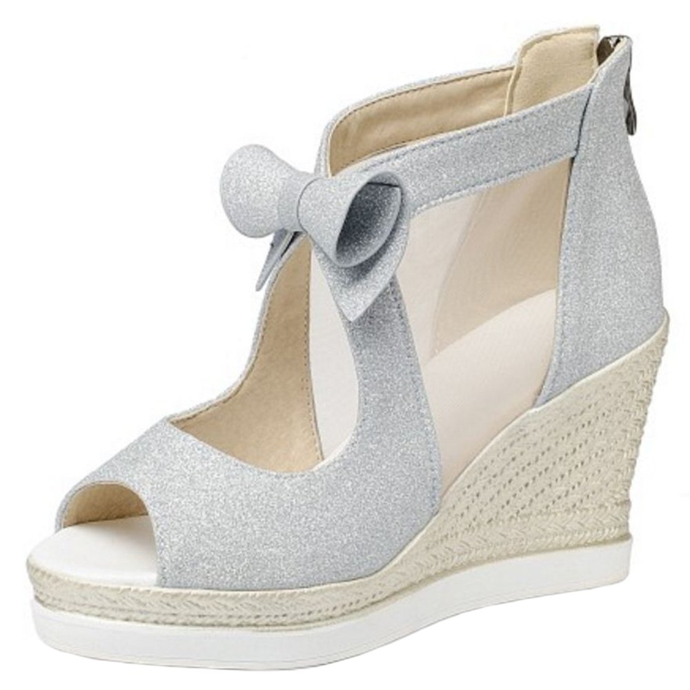 Zanpa Women Fashion Wedges Heels Pumps Sandals B079Z98Y1W 7 US (sole length 24.5 CM)|Silver