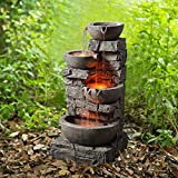 """Peaktop 201601PT Outdoor Garden Water Stacked 3 Tier Bowls Waterfall Fountain with LED Light, 33"""" Height, Stone Gray"""