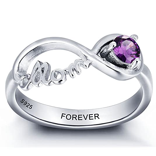 Review Diamondido Personalized Infinity Mother Jewelry Cubic Zirconia Rings for Mom with Simulated Birthstones and Names