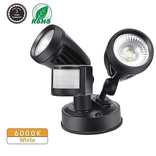 Foco LED con Sensor de Movimiento, Comaie 2 bombillas LED de Sensor de Movimiento,30W Proyector LED Exterior Iluminación de Exterior Segura Potente ...
