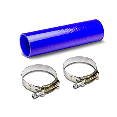 3.25 to 3.25 inches 12 inches Long Straight 4-Ply Turbo/Intake/Intercooler Piping Silicone Coupler Hose+T-Clamp (Blue): Automotive