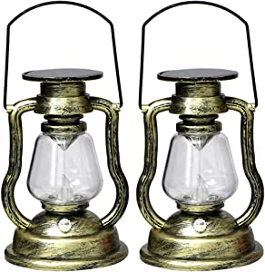 EastMetal Solar Hanging Candle Light, Retro Antique LED Oil Lamp Flame Candle Light, Solar Power Rechargeable Warm White Hurricane Miners Lantern, for Garden Patio Tree Pavilion Camping 2Pcs,Gold