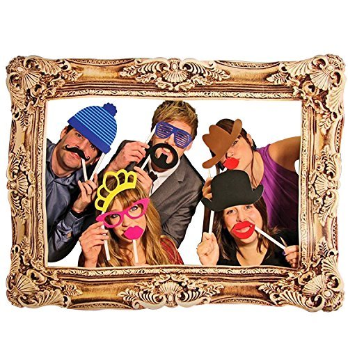 24 Pcs Colourful Party Props With Photo Frame Photo Booth On Sticks Diy Funny For Wedding, Birthday, Christmas, (Carnival Theme Party Rentals)