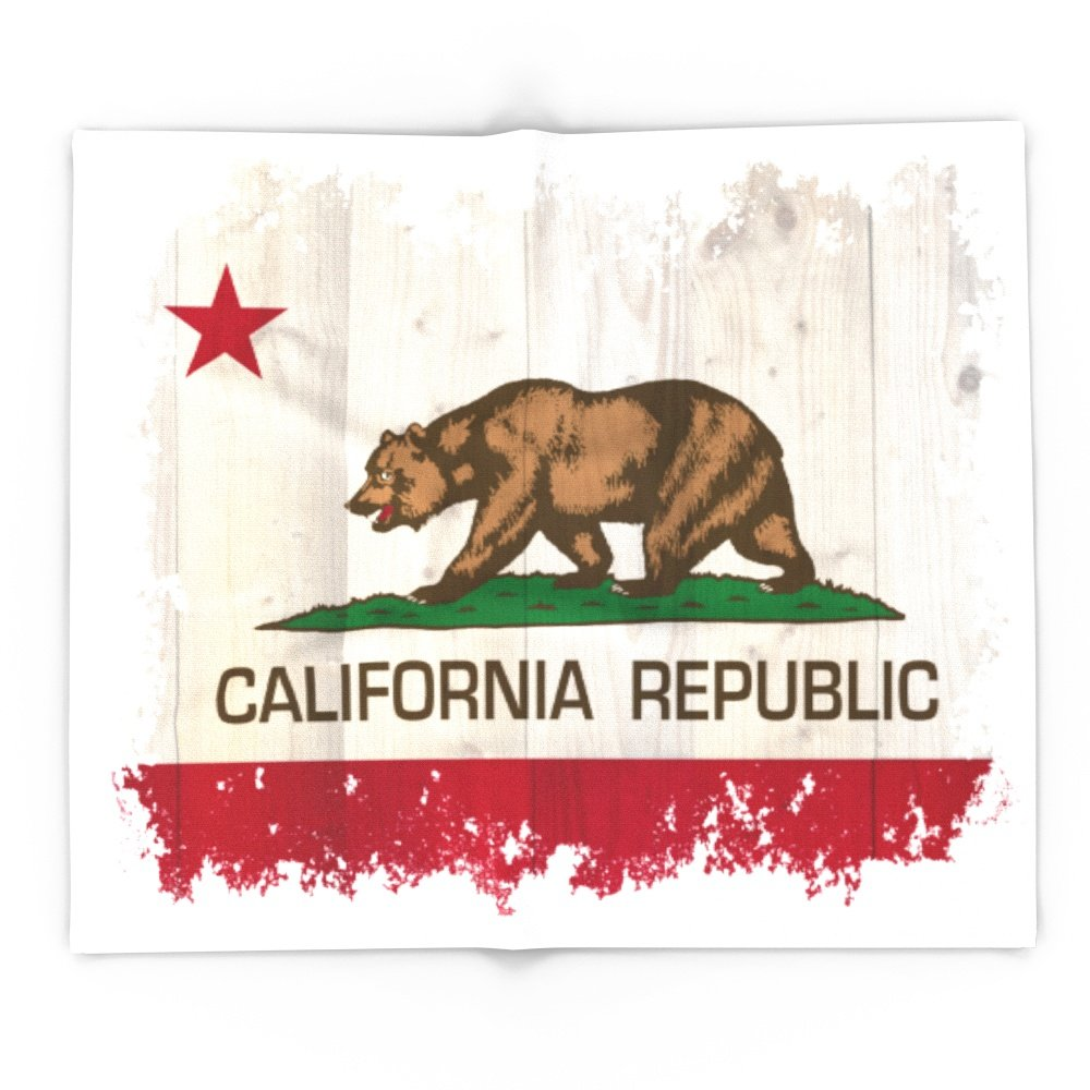 Society6 California Republic Flag On Woodgrain 88'' x 104'' Blanket by Society6 (Image #1)