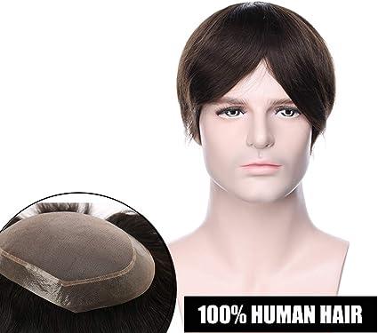 Elailite Protesis Capilar Hombre Indetectable Pelo Natural Remy #02 Castaño Oscuro 50g - Base: 6
