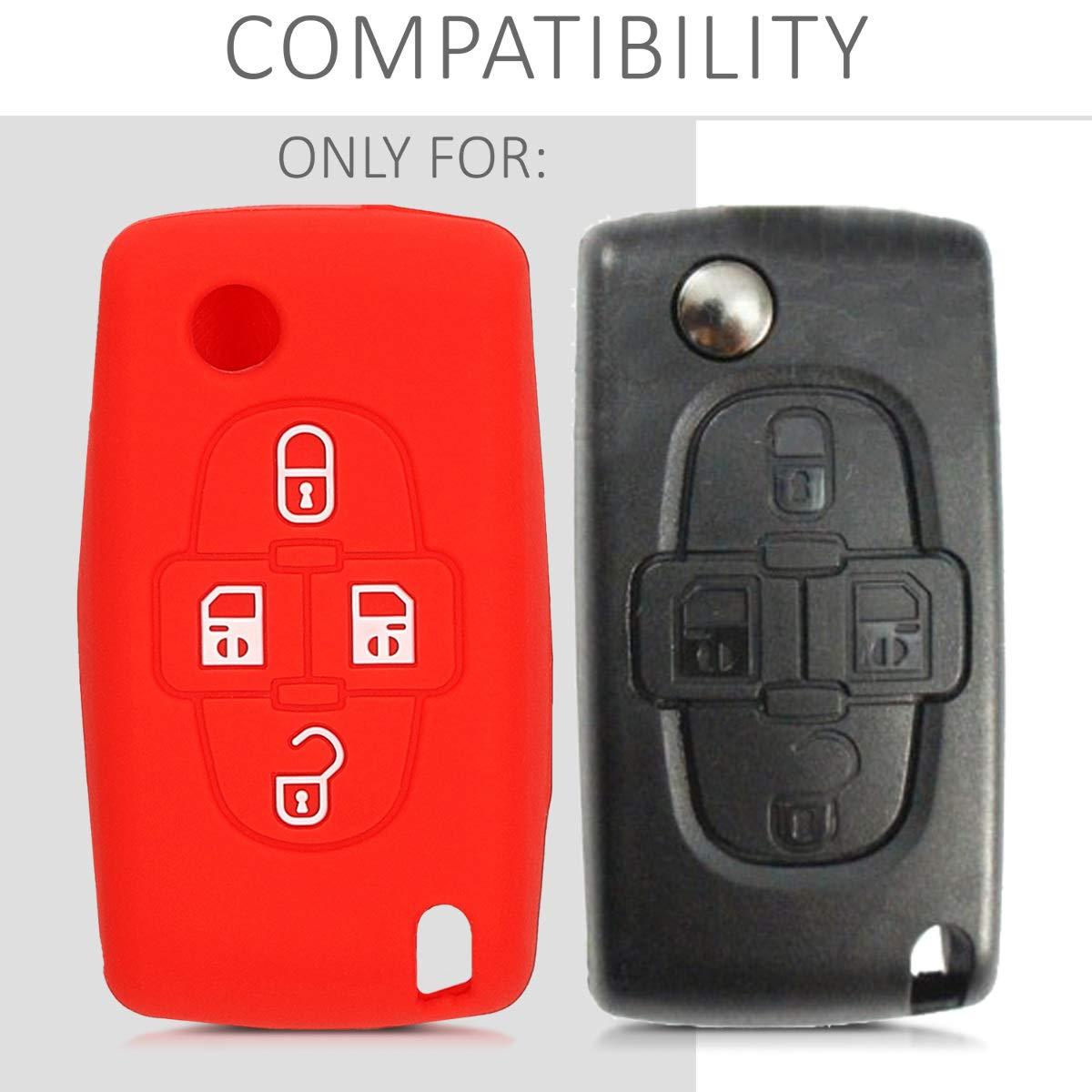 de Rojo Silicona Suave - Case Mando de Auto Carcasa Protectora kwmobile Funda de Silicona para Llave de 4 Botones para Coche Peugeot Citroen
