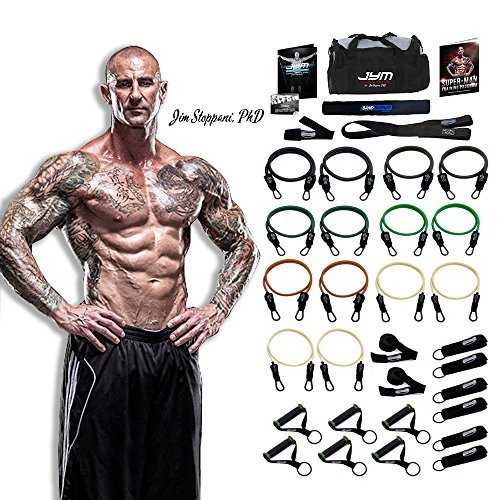 PhD Fitness LLC The JYM Strength Bands System, by Renowned Training Expert Dr. Jim Stoppani, Includes 14 Anti-SNAP Bands (34 Pieces - Dr. Jim Stoppani Edition 404lbs)