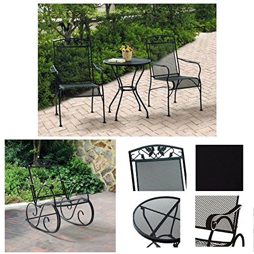 Two-Seater 3-Piece Bistro Set & Porch Rocking Chair, Black, Mainstays Jefferson Wrought Iron Collection, Patio Furniture, Outdoor, Durable Steel Frame, Long Wearing Finish, Powder Coated, Heavy Duty