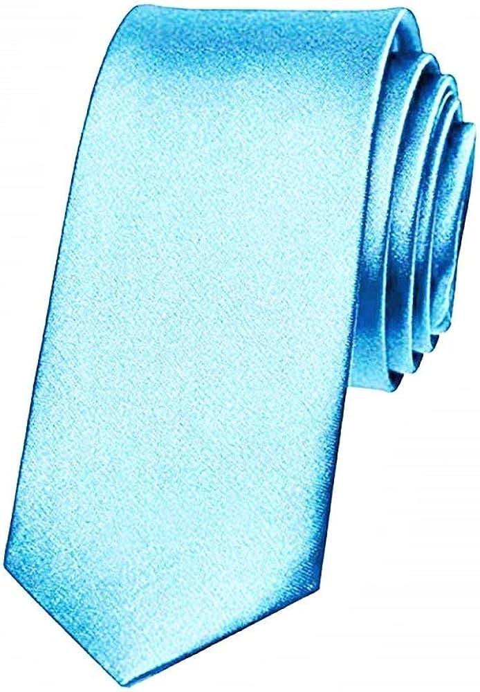 Legisdream Hombre azul claro corbata satinado delgado estrecho ...