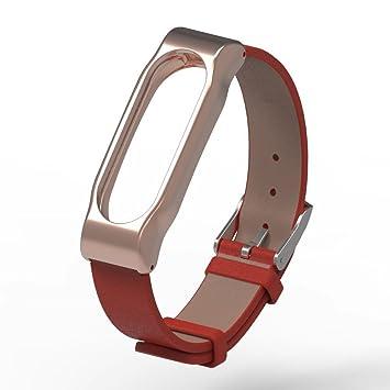 Xiaomi Mi Band 2 bandas pinhen piel muñeca Blet Correa Pulsera Pulsera Accesorios con estructura de metal para Xiaomi Mi Banda 2 reloj inteligente Miband: ...