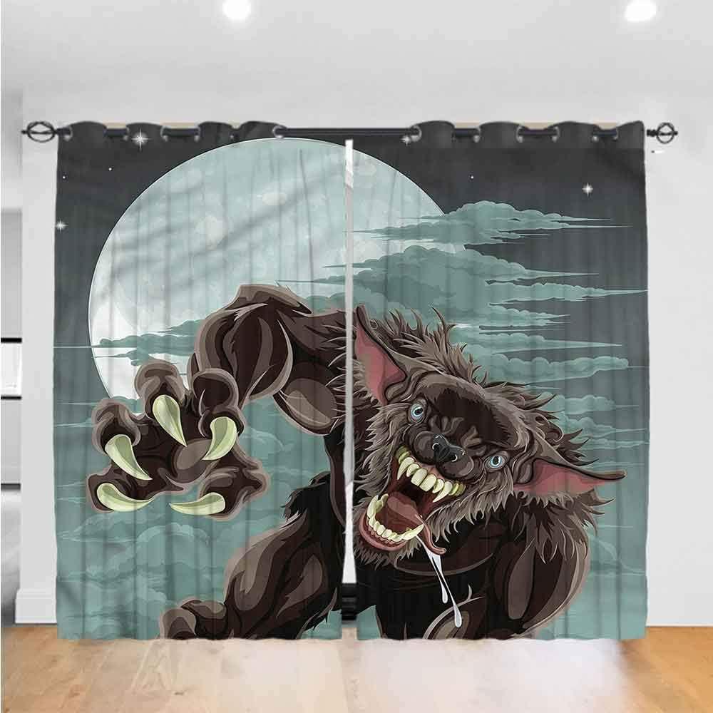painting-home Curtain Panel Set Wolf, Night Skyline Werewolf 100% Blackout Window Curtain Panels for Window, Patio Door (2 Panels, W26 x L63 Inch/Panel)