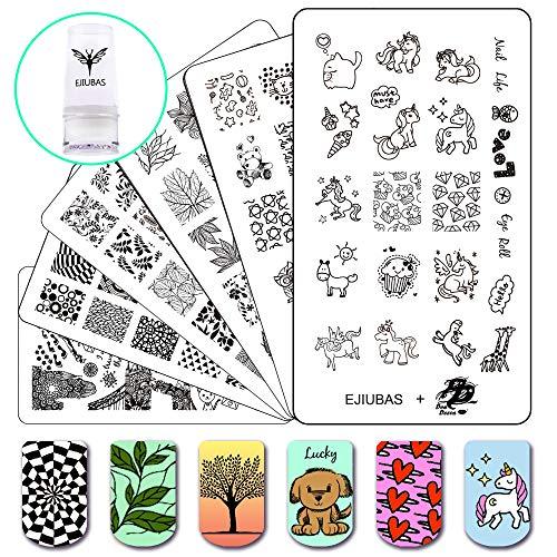 Stamping Set Image Nail Art Tools, 3Pcs Nail Stamp Plates + 1 Stamper +1 Scraper Nail Stamping Kits ()