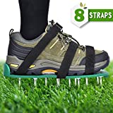 Nosiva Lawn Aerator Shoes - Lawn Aerator Spike Shoes Heavy Duty Spiked Sandals with Zinc Alloy Buckles 2'' spikes One Size Fits All 8 Adjustable Nylon Straps for Aerating Your Lawn or Yard
