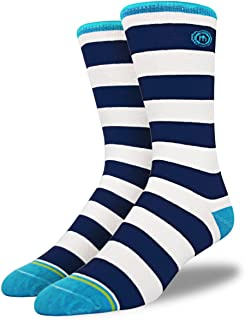 product image for Mitscoots Men's Navy Striped Crew Socks