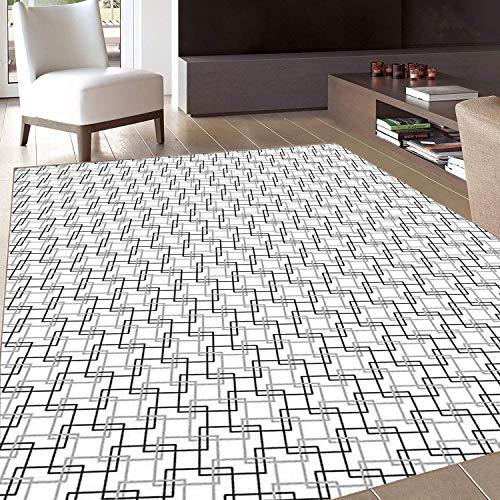 (Rug,FloorMatRug,Geometric,AreaRug,Minimalist Pattern with Intersecting Squares Grayscale Lattice Mosaic,Home mat,3'x5'Black Pale Grey White,RubberNonSlip,Indoor/FrontDoor/KitchenandLivingRoom)