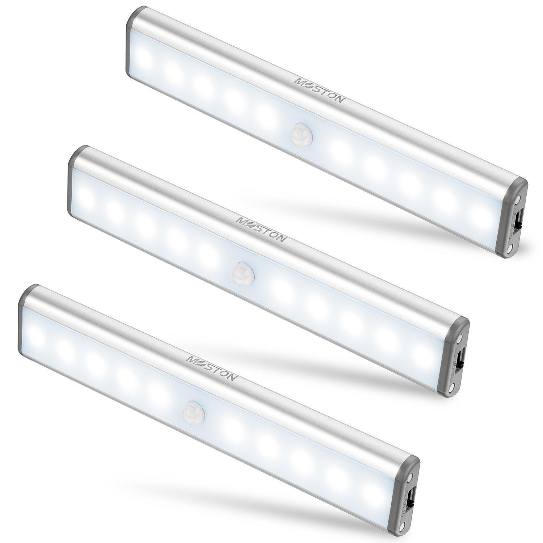 Moston LED USB Recargable magnético Movimiento Sensor Luces nocturnas oscuridad a amanecer
