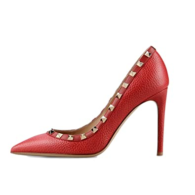 EKS Damen Fllosacf Patch Arbeitskante mit Nieten Stollen High Heels Pointed Toe Pumps Kleid Schuhe Plus Size EU...
