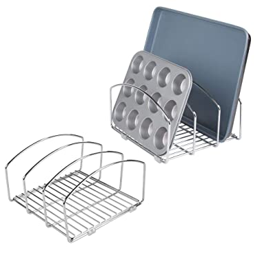 mDesign Metal Wire Cookware Organizer Rack for Kitchen Cabinet, Pantry and Shelves - Organizer Holder with Three Slots for Cookie Trays, Muffin Tins, Bread Pans, Cutting Boards - 2 Pack - Chrome