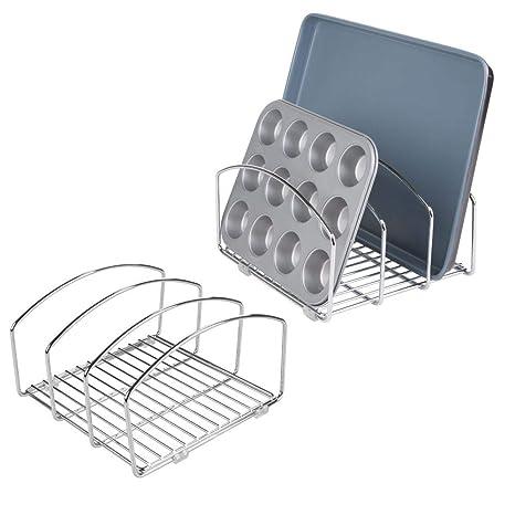 mDesign Juego de 2 organizadores de cocina – Bandeja organizadora con 3 apartados para poner orden en la cocina – Rejilla de metal cromado para tablas ...
