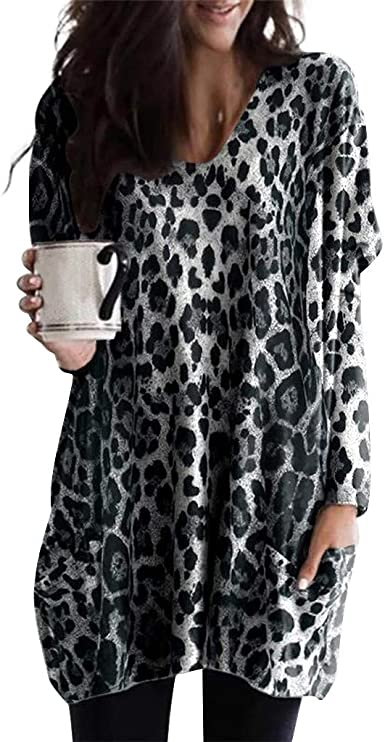 EDC Leopard Tunics for Women to Wear with Leggings Oversized Long Sleeve  Pullover Crewneck Blouse with Pockets Plus Size at Amazon Women's Clothing  store