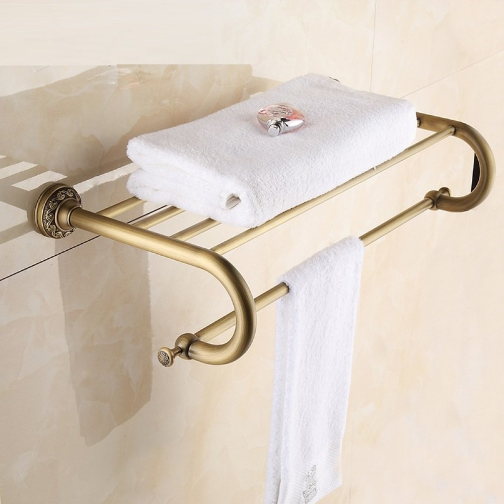 LJ&L European retro style copper yellow bathroom racks, bronze polished by hand, anti-corrosion, home and hotel decoration high-end hardware accessories,copper yellow,Length 63cm