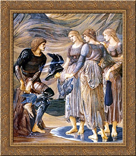 The Perseus Series: Perseus and the Sea Nymphs 20x22 Gold Ornate Wood Framed Canvas Art by Burne Jones, Edward