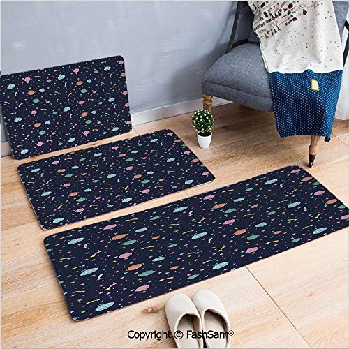 - FashSam 3 Piece Flannel Doormat Alien Planets with Shooting Stars and Polka Dots Galaxy Heavenly Bodies Asteroid for Kitchen Rugs Carpet(W15.7xL23.6 by W19.6xL31.5 by W15.7xL39.4)