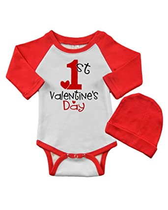 a5fa2855df Long Sleeve Raglan Bodysuit and Cap Set - My 1st Valentine s Day (0-3m