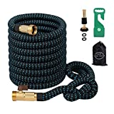 Greenbest Expandable Garden Hose, 50ft Expanding Garden hose/Car Hose, Aviation Plastic Hose Hanger, 3/4Nozzel Solid Brass Connector, ,Double Latex Core,Extra woven Strength Fabric cover (black blue)