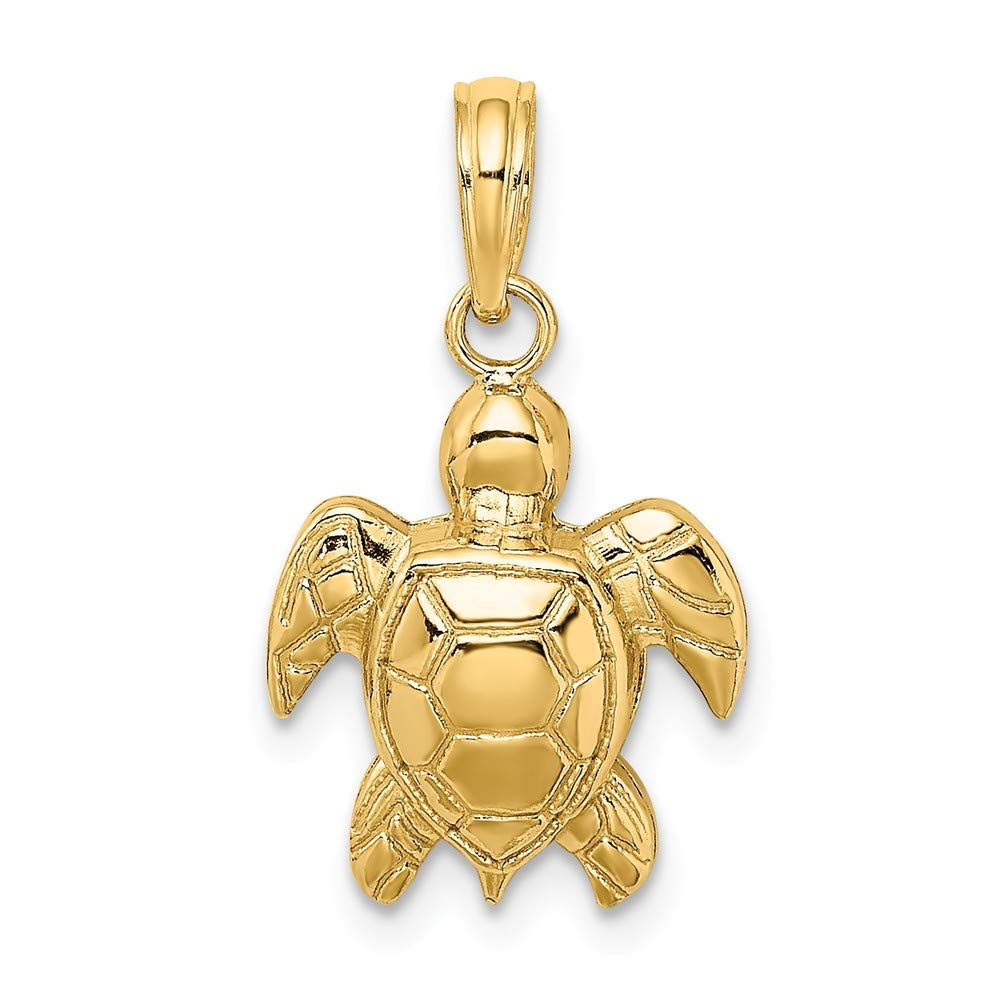 1of2 14K Yellow Gold Sea Turtle 2 d and Textured