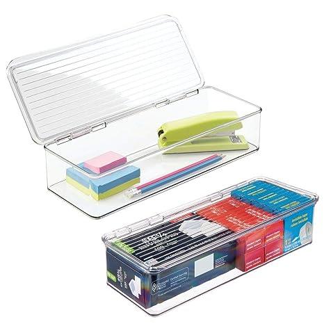 Amazon.com: mDesign - Caja organizadora de plástico largo ...