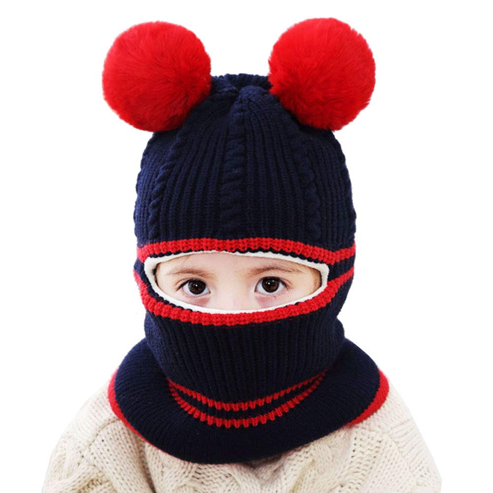 553997a56c5de Uniyoung Girls Boys Winter Warm Hat Toddler Baby Knit Fleece Lining Beanie  Hat Earflap Hood Scarves Kids Balaclava Hat Skiing Snowboard Cap for Age 1-5