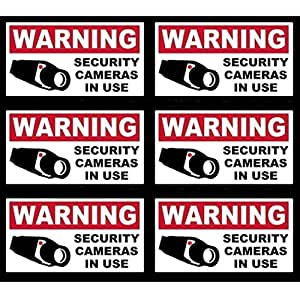 "6 Pcs Terrific Popular Video Surveillance Sticker Yard Sign Bumper Adhesive Premises Monitored Anti-Robber Size 4"" x 2"""