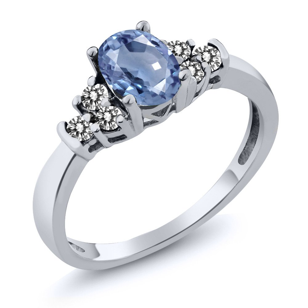 0.81 Ct Oval Blue Sapphire White Diamond 925 Sterling Silver Ring