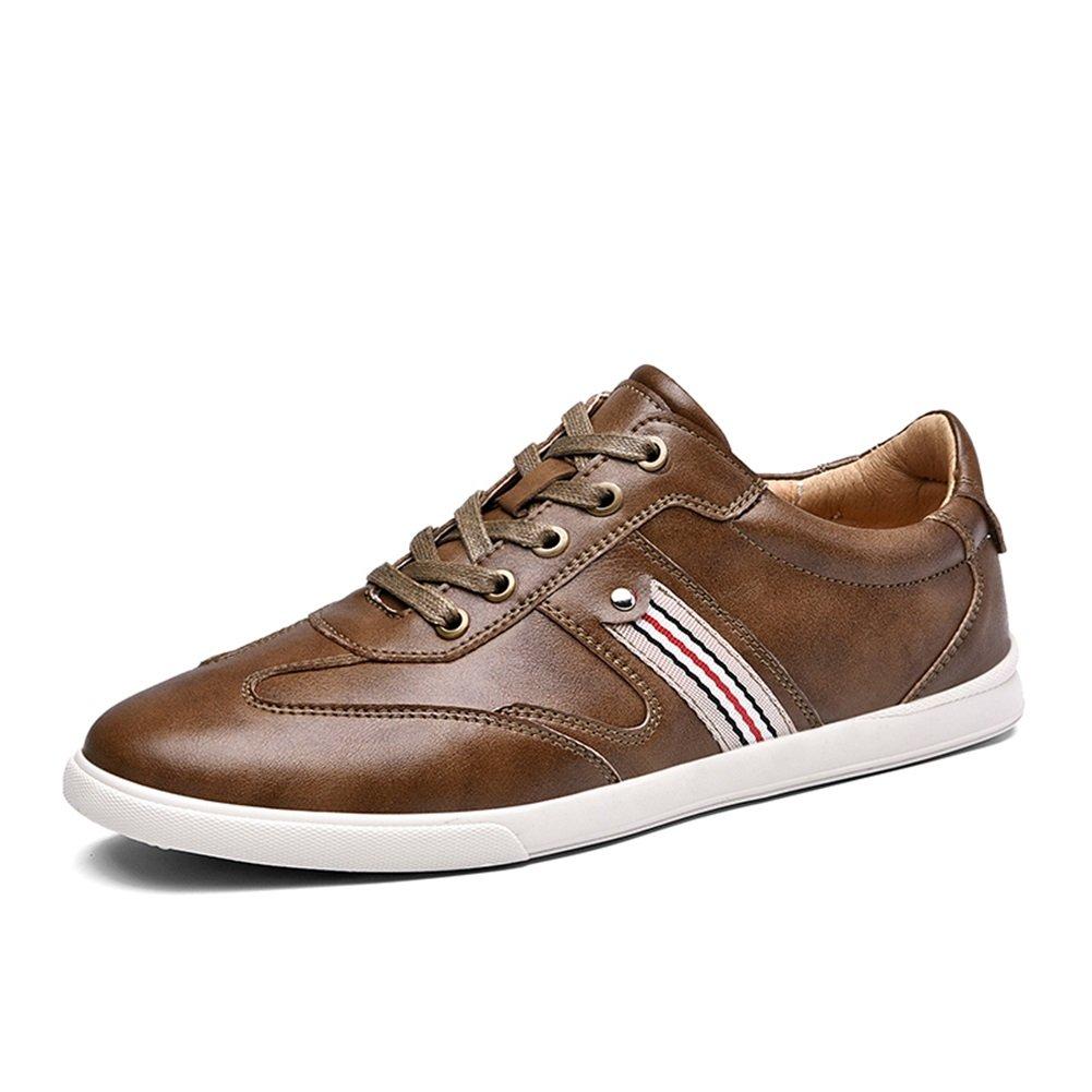 HUAN Zapatillas Bajas Para Hombres Zapatos Casual de Cuero Mocasines Planos de Moda Zapatos de Cubierta Trabajo Formal Blanco, Marrón, Caqui, Azul 40 EU|C