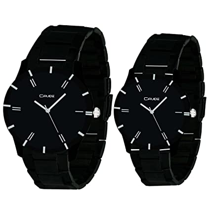 Beautiful Black Dial Watches Combo for Couples with Stainless Steel Strap