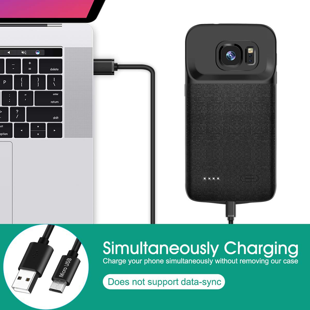 Newdery 5200mAh Rechargeable Extended Charging Case with Soft Edge for Samsung Galaxy S9+ Great for Travelling and Gaming Galaxy S9 Plus Battery Case
