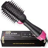 Escova secadora de cabelo, secador de cabelo 2 em 1 e volumizador de íons negativos para alisamento de salão de ar quente red