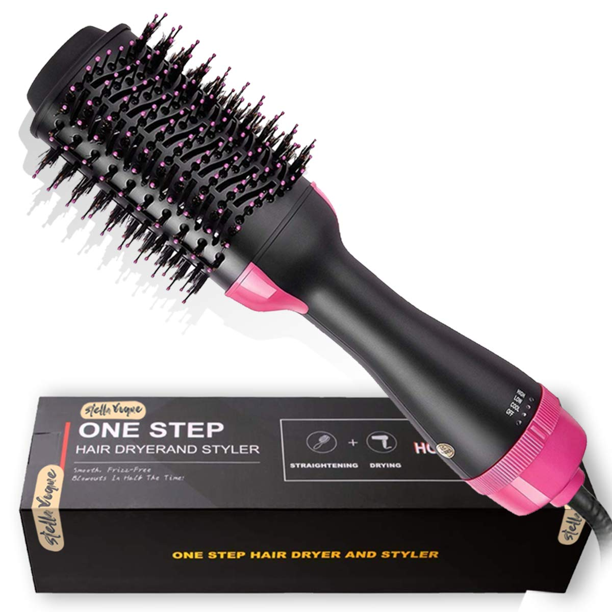Hair Dryer Brush,2-in-1 One Step Hair Dryer Volumizer Negative Ion Straightening Brush Salon Hot Air Paddle Styling Reduce Frizz and Static Design