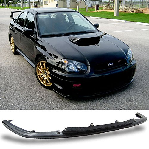 Front Bumper Lip Fits 2004-2005 Subaru Impreza | V-LIMITED Style Polyurethane (PU) Unpainted Black Guard Protection Finisher Under Chin Spoiler by IKON - Subaru Sti 2004
