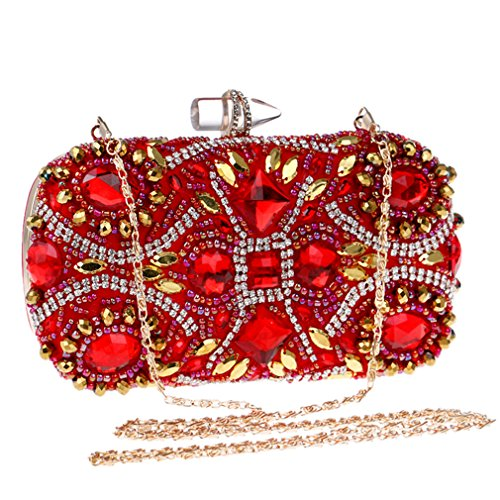 Tanling Dinner Embroidery Clutch Purse Bags Rhinestones YM1131color Red Party Evening For Chain Beading Lady Wedding Lip Shoulder Metal xfraBxwFn