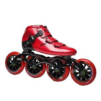 Skates Patines 4 Ruedas En línea Unisexo Velocidad Rodillo Patinaje Carbón Fibra Durable Cómodo Vestir Resistente Profesional Polea Zapatos,Red,37: ...