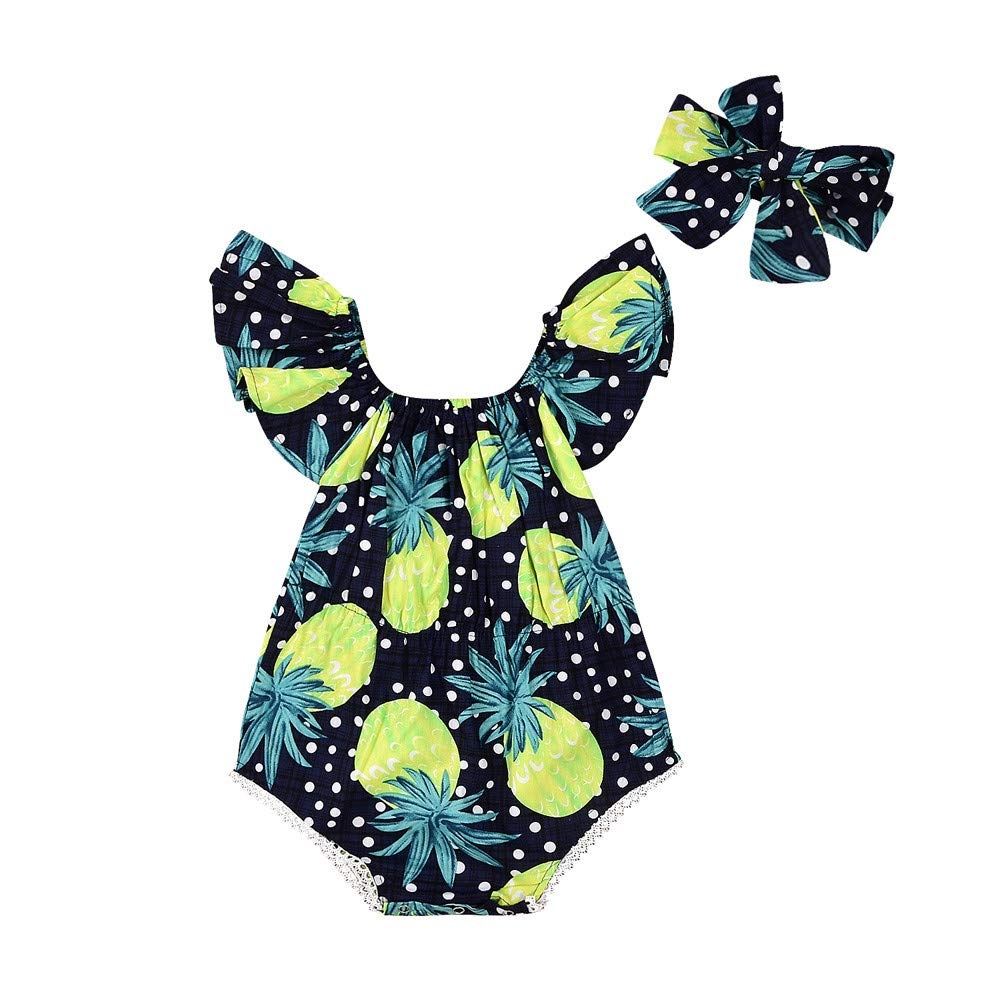 NUWFOR 2Pcs Newborn Infant Baby Romper Boys Girls Floral Print Jumpsuit Outfits Clothes(Black,6-12 Months