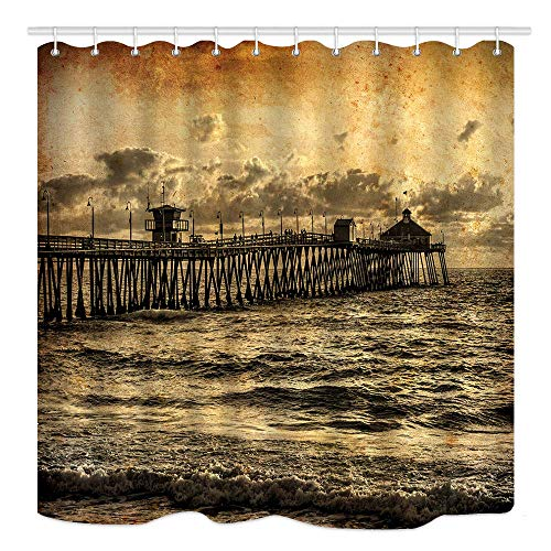 - Sonernt Curtain Ocean California Sunset at Pier in Imperial Beach Shower Curtain Bathroom Decor,Polyester Durable Waterproof Curtain