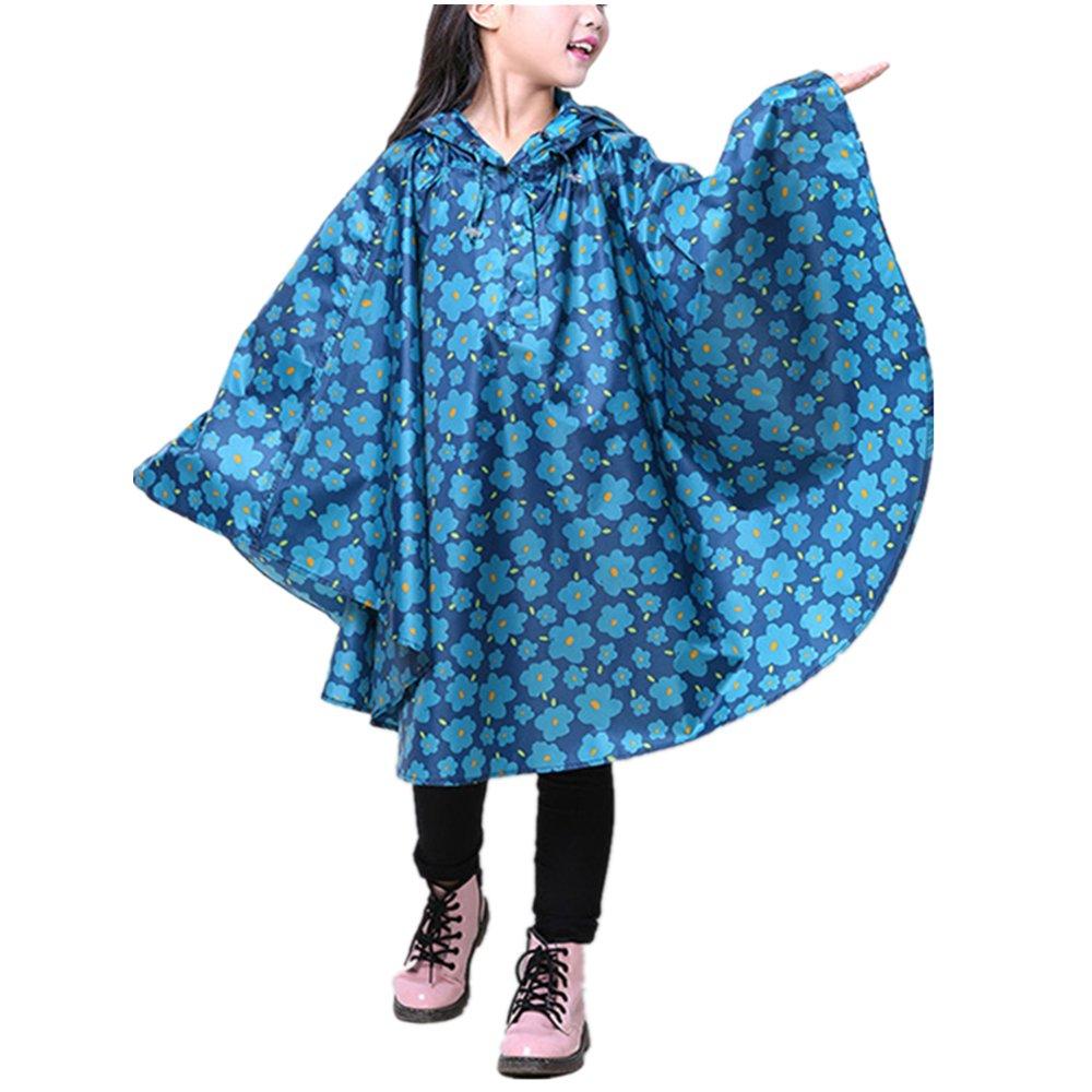 zhbotaolang Children Raincoat Kids Rain Poncho Baby Traveling Cute Pattern Printed Cloak Cape Type Colorful Lightweight Waterproof Rainwear Girls Boys Hooded Jacket Outdoor Cycling Rain Coat