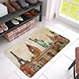 big eiffel tower - Vintage World Landmarks Collage of Statue Of Liberty Eiffel Tower and Big Ben Doormat Anti-Slip Floor Rug Indoor/Outdoor Door Mat Home Decor, Rubber Backing Large