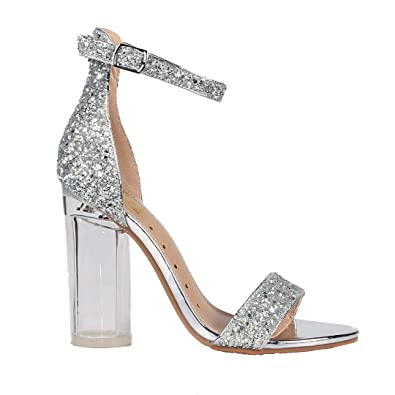 cd4db8e89d Amazon.com   Fahrenheit Women's Silver Glitter Embellished High Heel ...