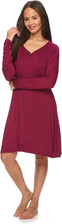 LAMAZE Womens Maternity Nursing Breastfeeding Long Sleeve Pajama Lounge Nightgown Sleep Shirt