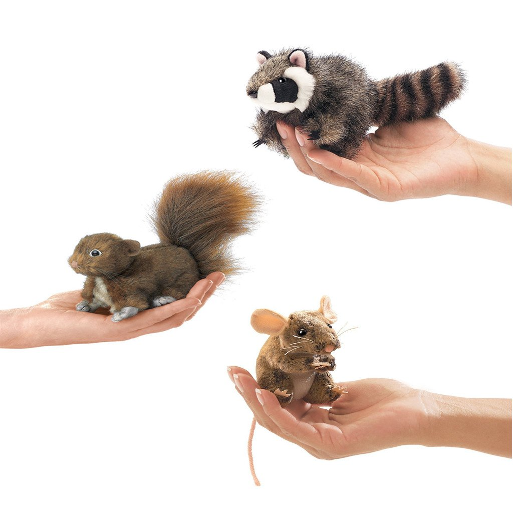 Folkmanis Woodland Creatures Finger Puppets Set of 3 Red Squirrel, Field Mouse, Raccoon
