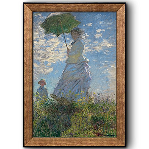 Woman with a Parasol Madame Monet and Her Son by Claude Monet Framed Art